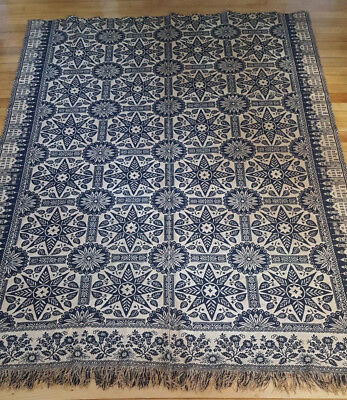 Antique 1855 indiana blue and white jacquard coverlet