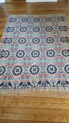 Antique 1847 Peace and Plenty jacquard coverlet
