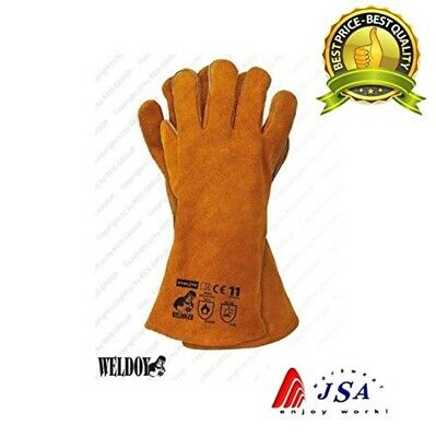 HEAVY DUTY Wood Burner Stoves Fireplace Heat Resistant Fire Gloves - Yellow