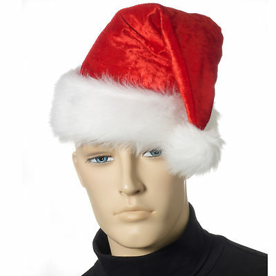 "Forum Deluxe Velour Red Velvet Santa Hat White Faux Fur Trim, X-Large 24"" Cir"