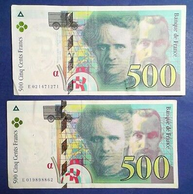 FRANCE: 2 x 500 Francs Banknotes Extremely Fine Condition