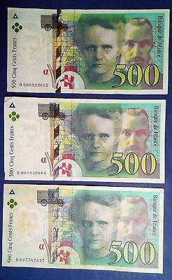 FRANCE: 3 x 500 Francs Banknotes Extremely Fine Condition