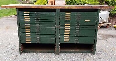 Antique Printing Press Storage Cabinets with Butcher Block Top