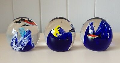 Set Of 3 Fish Glass Paperweights, Blue Underwater Style, Brand New