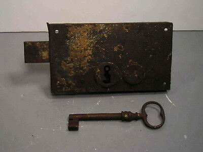 Antique 4 1/8 X 7 3/8 Dead Bolt Lock With Skeleton  Key 2 Turn Forged Large Rim