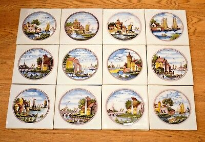 STUNNING Set of 12 hand-painted Delft Tiles - Holland landscape scenes - NOS