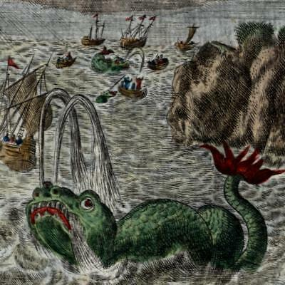 Sea Monsters giant creatures 1719 sailing ships coastline print fine hand color
