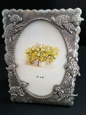 "Pewter Lamb, Lambs Picture Frame Holds 4x6""  New & So Cute!"