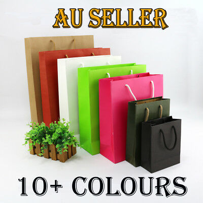 Bulk 50 x Paper Carry Bags w/ Handle Shopping Bags Gift Bags Embossed 10+Colours