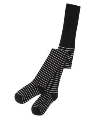 NWT Crazy 8 Halloween BLACK & WHITE STRIPE Fashion Tights