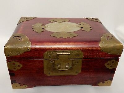 Vintage Chinese Rosewood Jade & Brass Jewelry Box with Silk Lining Shanghai
