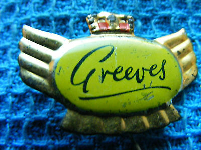 GREEVES motorcycle ...very old pin badge for lapel,hat ..Great Britain