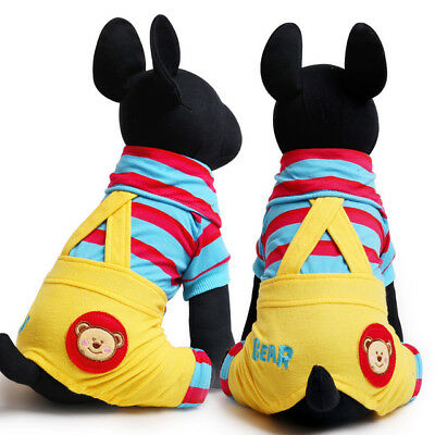 Stripe Pet Dog Overalls Fashion Sport Style Bear Small Dogs Apparel Jumpsuit