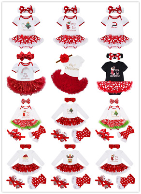 My First Christmas Tutu Dress Infant Baby Girl Santa Romper Sequined  Outfit Set