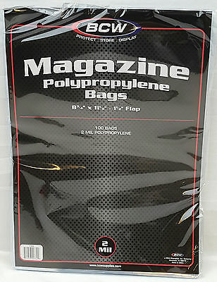 Pack Lot BCW Magazine Sleeves Bags Non-Resealable Flap Clear Protector Storage