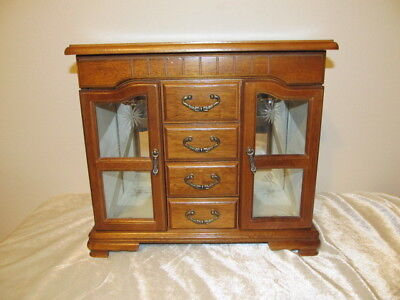 Large Vintage Wood JEWELRY BOX Etched Doors 2 Necklace Carousels Mirror 4 Drawer