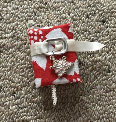 Christmas Book Key Ring/Chain With White Belt And Sleigh Charm