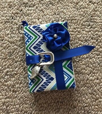 RIVER Blue Chevron Pocket Book Key Ring/Chain With Blue Belt And Ribbon Flower