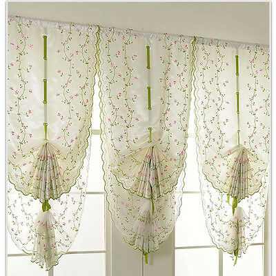1X Window Kitchen Bathroom Lifting Roll Up Rome Curtain Screen Embroidered Hot