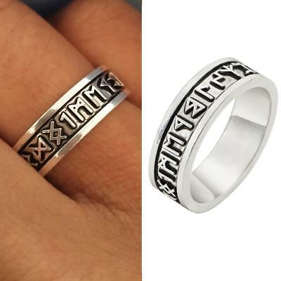Men Viking Rings Custom Rune Letter Ring Wedding Norse Vintage Jewelry SS US