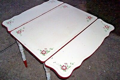 Vintage White Red Enamel Flower Top Table Porcelain Pull Out Leaves