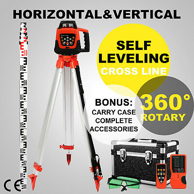 Rotary Green Laser Level+Tripod+Staff Cross Line Indoor Buildling Automatic