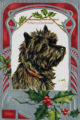 Cairn Terrier Dark Coat Dog Lucy Dawson 1930's ~ LARGE New Christmas Note Cards