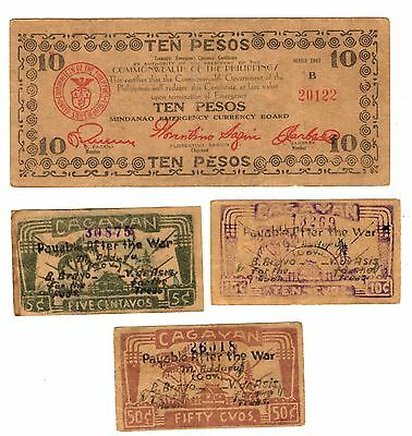 4 different MINDANAO Emergency Currency Board Philippines guerrilla money note
