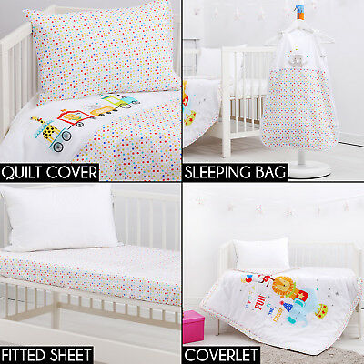 CIRCUS COT COMPLETE SET Fitted Sheet Coverlet Quilt Cover Bunting Boy Girl