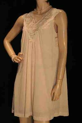 NOS Vintage 60s 70s Sz S NUDE SHEER NYLON LACE GILEAD WALTZ GOWN New NIGHTGOWN
