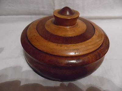 Vintage Oak Teak Hand Turned Lidded Wooden Bowl Trinket
