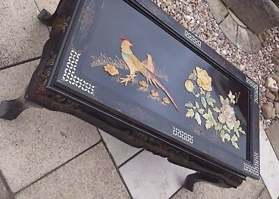 Antique Chinese/Oriental Black Lacquer Mother Of Pearl Coffee Table.