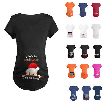 Christmas Maternity T-shirt Funny Print Baby Peeking Pregnant Women Tops Blouse
