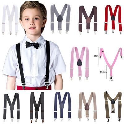 Childrens Adults Bow Tie On Kids Cute Suspender Clip Elastic Y-Shape Braces Boys