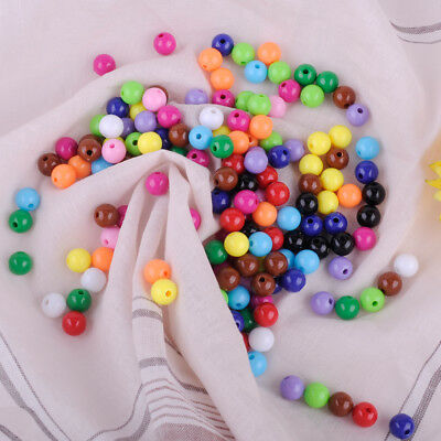 150pcs 8mm Round Mixed Acrylic Loose Beads Pearl Spacer Jewelry Necklace Making