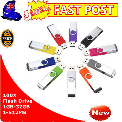 100Pcs Flash Drive 1-32GB 1-512MB USB 2.0 Memory Stick Pen Storage Thumb U Disk