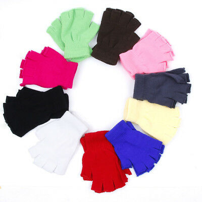 10color Women Men Winter Fingerless Half Fingers Warm Knit Magic Gloves Mittens