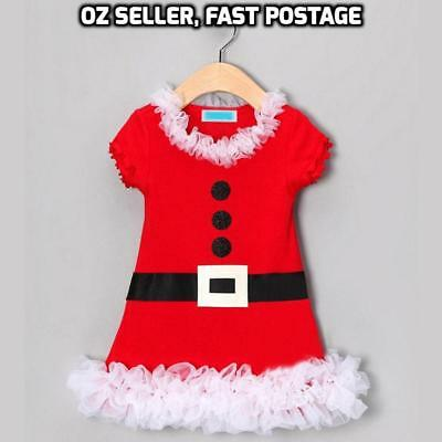 New Girls Christmas Xmas Red Santa T Shirt Dress White Ruffles Summer 1-4 Yrs
