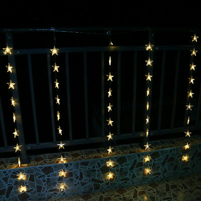 leds lichtervorhang weihnachtsbeleuchtung lichterkette licht fenster deko party picclick de. Black Bedroom Furniture Sets. Home Design Ideas