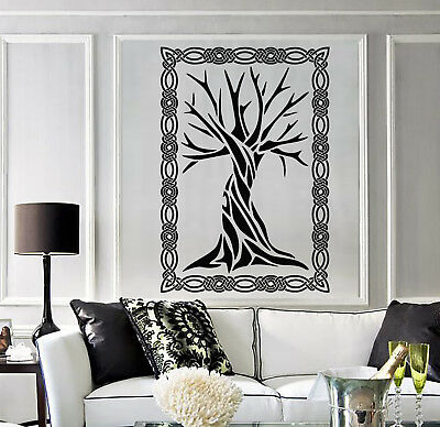 Vinyl Wall Decal Celtic Ancient Tree Art Ornament Frame Nature Stickers (2028ig)