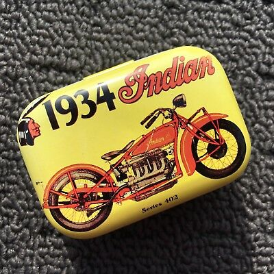 """1934 INDIAN MOTORCYCLE """"Yellow"""" Collectable Metal Trinket Tin Tobacco Box *NEW*"""