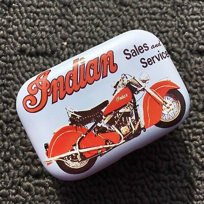 """INDIAN MOTORCYCLE """"Pale Blue"""" Collectable Metal Trinket Tin Tobacco Box *NEW*"""