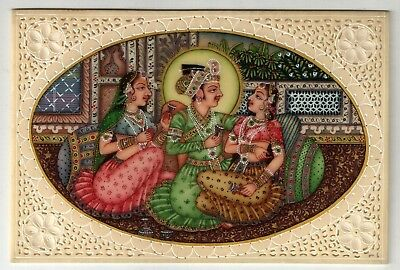 Mughal Emperor In Harem Indian Miniature Painting Art Handmade Ivory Painting