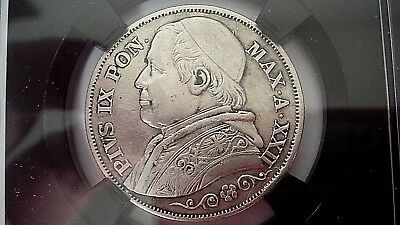 2 Lire 1867 Silver Coin From The Vatican. Au-Unc