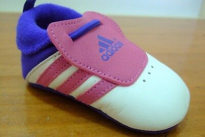 Original Girls Adidas Relino Crib Slip On First Shoes Pram Trainers Size 0 - 3