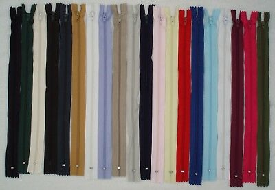 """20"""" (51cm) CLOSED END NYLON ZIP - VARIETY OF COLOURS - PLEASE SELECT"""