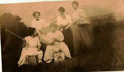 Old Vintage Antique Photograph Five Women in Great Outfits