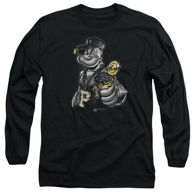 Popeye CLASSIC POPEYE Marching Ahead Licensed Adult Long Sleeve T-Shirt S-3XL