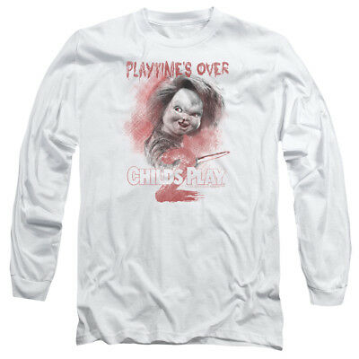 Child's Play 2 Chucky PLAYTIME'S OVER Licensed Adult Long Sleeve T-Shirt S-3XL