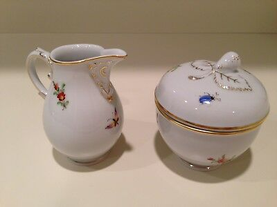 Hochst Insects and Flowers Sugar and Creamer Set Made in Germany New